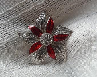 Enamel and rhinestone, flower brooch, unsigned.