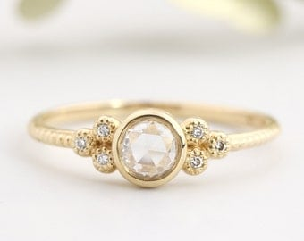 Rose cut diamond engagement ring in 14k 18k yellow gold, rose gold, white gold or platinum pt950, handmade unique engagement ring, ado-r101