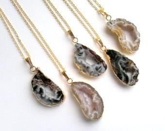 Gold Edged Geode Necklace Druzy Pendant Occo Geode Pendant Geode Slice Necklace Gold Plated Natural Colors Stone Pendant Layering Boho