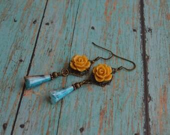 Vintage Style Earrings.Romantic Earrings.Boho Earrings.Victorian Earrings.Bohemian Earrings.Gift Idea For Her.
