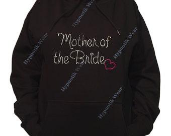 "Rhinestone Women's Pullover Hoodie "" Mother of the Bride with Pink Heart in Rhinestones "" Sweatshirt Sm to 3X"