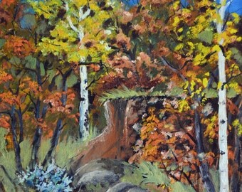 Fall landscape oil painting aspen trees fine art painting original landscape oil paintings autumn aspens Colorado painting orange rust blue