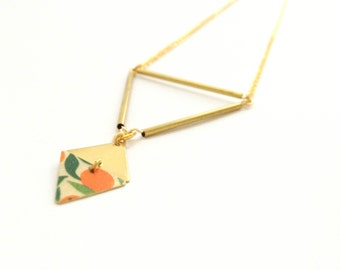 Oranges | Necklace gold geometric triangles tubes and diamond - handmade