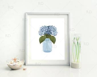 Blue Hydrangeas in mason jar - PRINTABLE Wall Art / Hydrangeas Print / Flowers in Mason Jar Wall Art / Floral Mason Jar Printable / 2 for 1