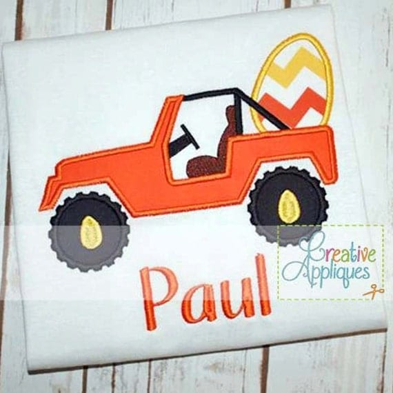 Jeep SUV Truck Easter Egg 4x4 4 Wheeling Machine Embroidery