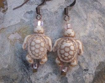 sea turtle earrings turtle earrings check glass earrings yoga earrings zen jewelry tiny lightweight earrings copper earrings Lavish Lucy