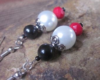 pearl earrings Red earrings black stone earrings bohemian earrings boho jewelry cowgirl dangle drop earrings school colors