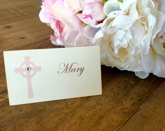 Ivory Baptism place cards, First communion place cards, Confirmation placecards, christening seat assignments, First sacrament place cards