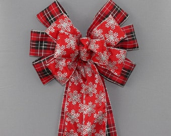 Cabin Plaid Red Snowflake Christmas Bow - Christmas Wreath Bow, Red Christmas Bow, Garland Bow, Christmas Tree Topper, Silver Snowflake Bow
