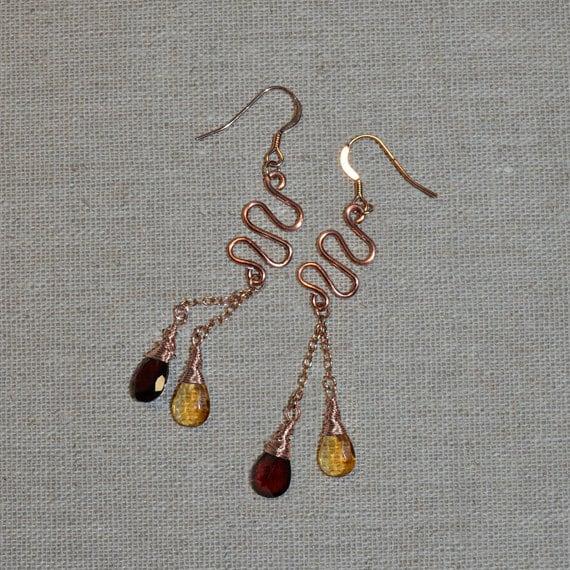 Extra Long Citrine, Red Garnet Dangle Earrings - 14k Rose Gold Filled Drop Stud Earrings - Citrine, Garnet Post Earings - Bohemian Jewelry