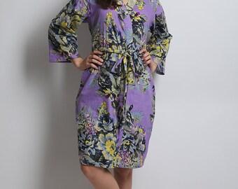 Lavender robe, lavender kimono gown, purple floral robe, lavender floral robe, lavender wedding, gray floral robe, lilac bridesmaid