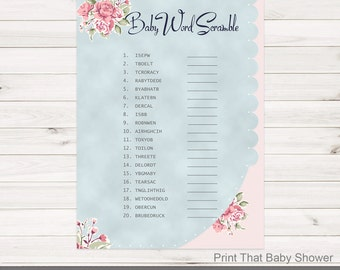 Baby Shower Games - Baby Word Scramble Game - Vintage Flower Baby Shower - Vintage Shower Games - Baby Names Game - Vintage Baby