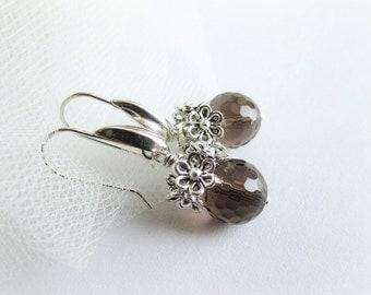 Smoky quartz earrings, gemstone drop earrings, sterling silver 925 earrings, quartz earrings, faceted gemstone earrings, italian jewelry