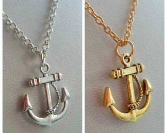 Anchor Necklace - Silver or Gold Plated, Simple Everyday Style