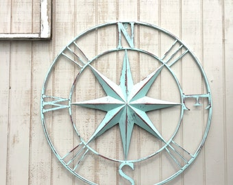 "40"" Nautical Compass Wall Art, Nautical Decor, Nautical Wall Art, Nautical Decor, Metal Compass Decor, Metal Wall Compass, Nautical Wall Art"