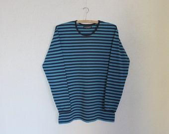 Vintage MARIMEKKO Shirt Nautical Top Shirt Long Sleeves  Black Blue Striped Sailor Blouse Marine Sweater Cotton Jersey T-Shirt Large Size