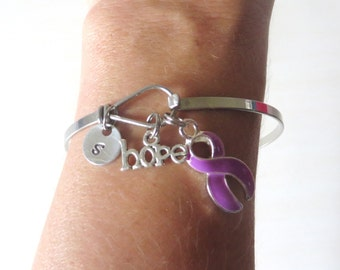 Purple LOVE HOPE Customizable Awareness Ribbon Charm Stainless Steel Bangle Bracelet With Optional Love Hope and Letter Charm