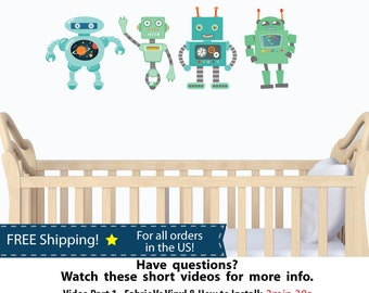 Robot Decal for Boys Room, Robot Wall Stickers for Children (Robot Mini Stock )