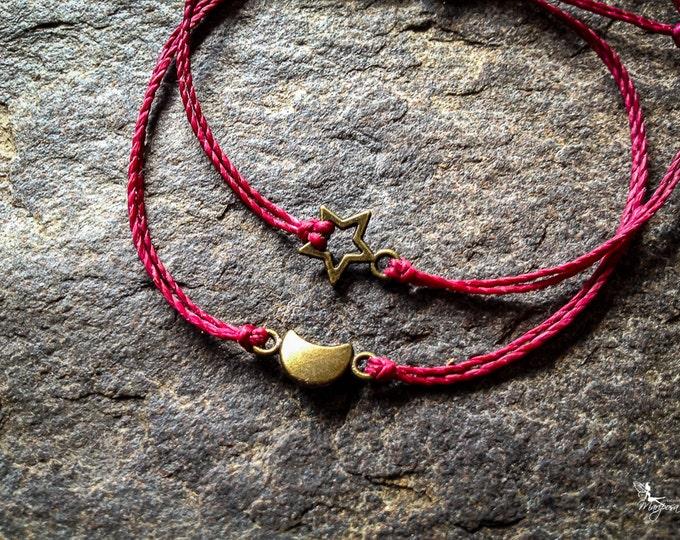 Red string bracelet Star Moon yoga meditation crimson thread symbol boho jewelry kabbalah by Mariposa Zen