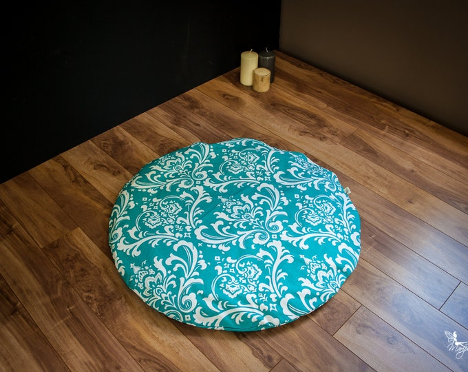 Round Zabuton Meditation mat floor cushion mattress Teal Damask WASHABLE cotton organic Buckwheat pillow by Creations Mariposa