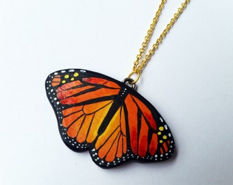 Monarch butterfly dainty chain necklace / Silver or Gold plated / Hand sculpted and hand painted / Unique gift for under 50 dollars