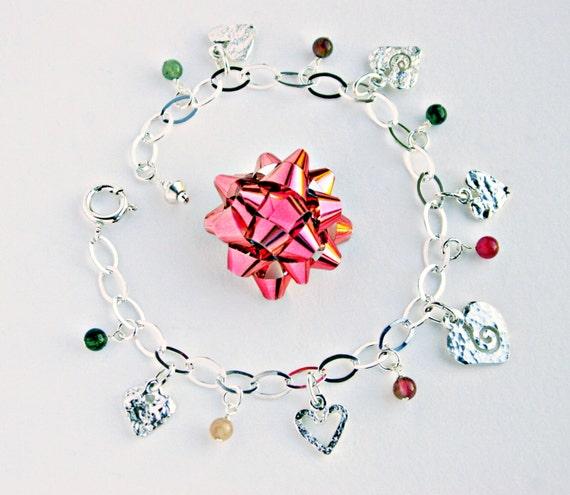 Heart Bracelet, Sterling Silver Bracelet, Silver Chain Bracelet, Personalized Custom Charms Bracelet, Charm Bracelet Charms, Custom Charms