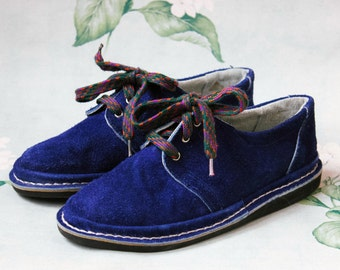 Blue Suede Shoes, New Old Stock USSR Vintage Women's Lace Up Shoes / Soviet Navy Blue Retro Plimsolls, NOS Oxfords Made in Kyiv Ukraine
