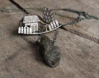 Silver House Necklace, Unique Statement Necklace, Farmhouse Pendant, Art Clay Silver, Artisan Jewelery, Oxidized Fine Silver Jewelry