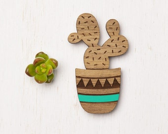 Arizona - Aqua Geometric Cactus Wood Brooch pin - laser cut - succulent planter - crazy plant lady - laser cut etched