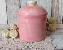 """Vintage Handmade Ceramic Canister """"Pink clouds"""" small candy container with lid, pink cookie jar, farmhouse, cottage, shabby kitchen décor"""
