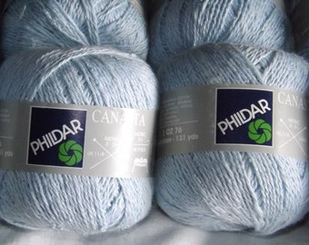 Phildar Canasta Light Blue Yarn, Soft Cotton Blend, Sport or DK Weight, 20 Balls Available, 50 Gram 120 Meters, Vintage, Summer Novelty Yarn