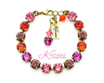 GLAMOUR QUEEN 8mm or 39ss Crystal Chaton Bracelet Made With Swarovski Stones *Antique Gold/Brass *Karnas Design Studio *Free Shipping