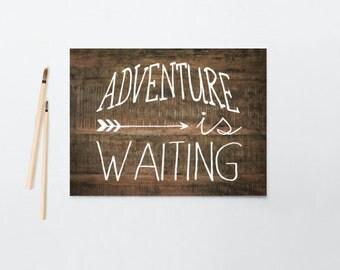 Boy's/Nursery Art, Adventure is waiting, Rustic Wood, baby boy, Framed, Canvas, Art Print #394