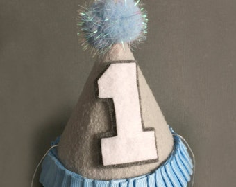 BIRTHDAY HAT, Baby Birthday Hat, First Birthday Hat, Cake Smash Hat, gray, blue Party Hat, Birthday Party Hat Number 1, Mini Birthday Hat