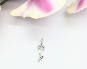 "0.30CTW ""Key to My Heart"" Pendant in 14K White Gold"