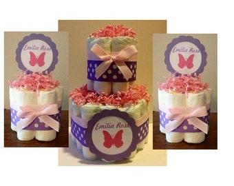Set of 3 diaper cakes- 2 Tier and two mini diaper cakes, Pink and Purple Diaper Cakes, Pink Purple Butterfly Diaper Cakes, Centerpieces