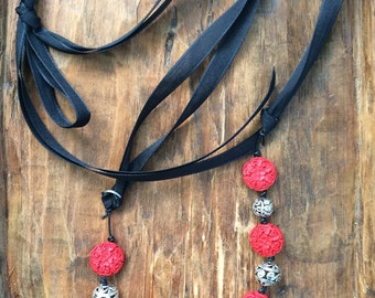 Red Cinnabar carved beads, Silver Bead Necklace/EmpoweringHonduranWomenwithWork/adjustable length/A Sisters Heart/Handmade gift for her