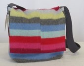 Striped Summer Purse, Lightweight Handbag, Felted Cashmere Bag, Repurposed, OOAK, B422