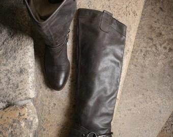 SALE -%60 FRENCH knee high pirate biker fabulous smokey gray boots 37