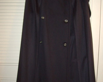 Wool CAPE Coat, Double Breasted w Attached Chic Scarf ! FANTASTIC Size