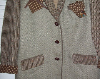 Vintage Canvasbacks Herringbone and Knitted Wool Jacket Blazer Size M