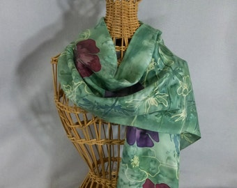 "Silk Scarf ""Moss Poppies"", Hand Painted Silk Scarf, Moss Green Scarf"