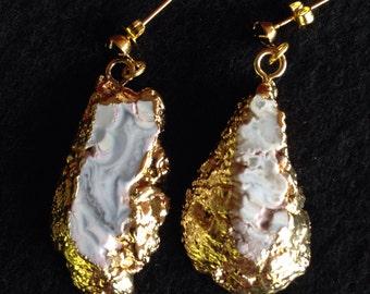 Geode Sliced Earrings, Geode Gold Earrings, Geode Slice Earrings, Geode Gold Pendant Earrings, Agate Earrings , Druzy , Gold,Black, Item #43