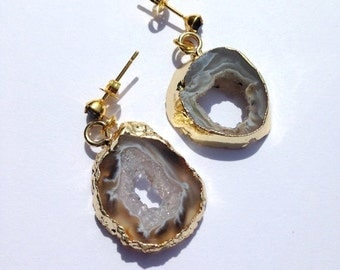 Geode Sliced Earrings, Geode Gold Earrings, Geode Slice Earrings, Geode Gold Pendant Earrings, Agate Earrings , Druzy , Gold,Black, Item #39