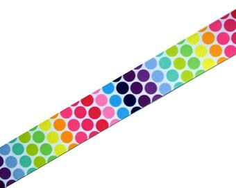 "3 yards - 1.5"" Rainbow Polka Dots Grosgrain Ribbon"