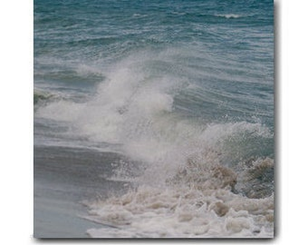 Wave art ocean canvas art, surf artwork coastal wall art canvas, nautical bathroom decor, teal wall art canvas print 24x24, 20x20 office art