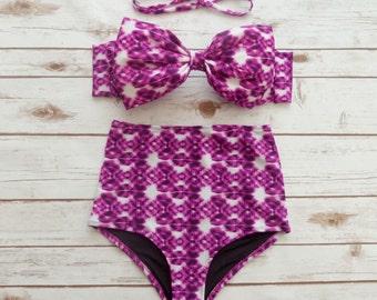 Bow Bikini High Waist Swimsuit - Cute Vintage Retro Style High Waisted Swimwear Pink And White Tie Dye Print - Cute Beachwear Spring Break