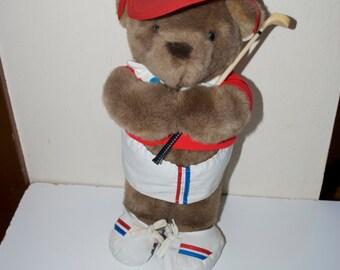 "Vintage Golf Teddy Bear by Plush Parade 15"" 1986"