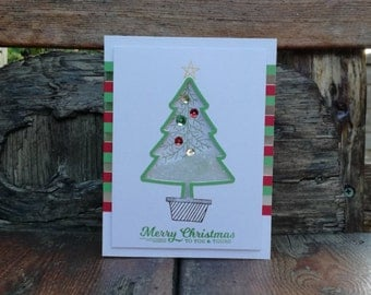 Merry Christmas Tree Shaker Card, Hand Made, Hand Stamped, Xmas, Red, Green, Sequins, Snow, Happy Holidays, Traditional, Strip, Stampin' Up