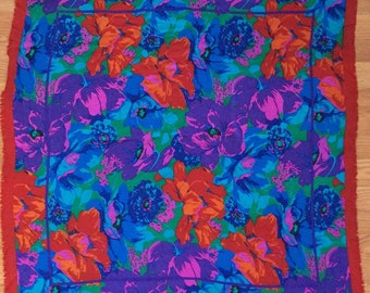 Vintage Flora Kung Amazing Bright Floral Oversized Silk Scarf